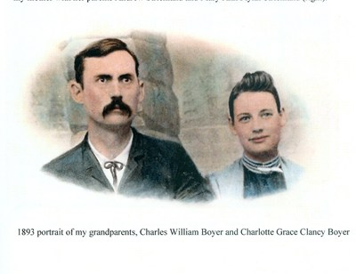 1893 portrait of my grandparents, Charles William Boyer and Charlotte Grace Clancy Boyer